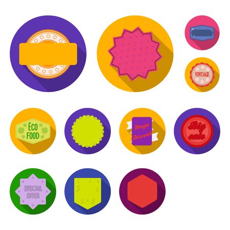 Different label flat icons in set collection for design. Index and brand vector symbol stock  illustration.