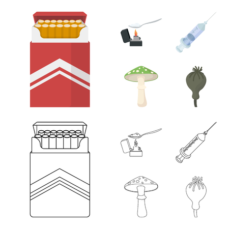 Cigarettes, a syringe, a galoyucinogenic fungus, heroin in a spoon.Drug set collection icons in cartoon,outline style vector symbol stock illustration web.