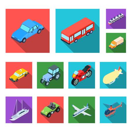 Différents types d'icônes plates de transport dans la collection de jeux pour la conception. Illustration stock de symbole vecteur isométrique voiture et bateau.