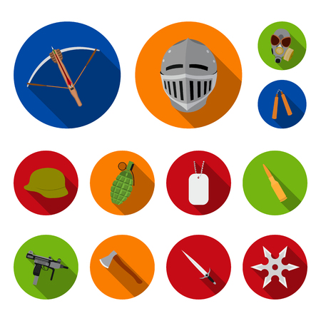 Types of weapons flat icons in set collection for design.Firearms and bladed weapons vector symbol stock  illustration.