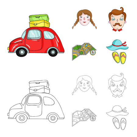 Travel, vacation, camping, map .Family holiday set collection icons in cartoon,outline style vector symbol stock illustration web. 向量圖像