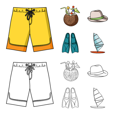 Swimming trunks, cocktail with coconut, panama and flippers. Surfing set collection icons in cartoon,outline style vector symbol stock illustration web. Stock Illustratie