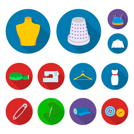 Atelier and sewing flat icons in set collection for design. Equipment and tools for sewing vector symbol stock web illustration. Archivio Fotografico