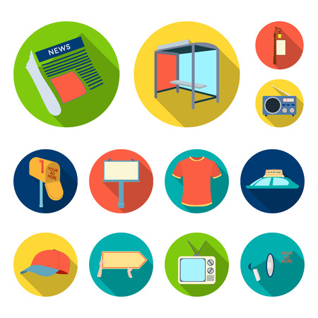 Production of advertising flat icons in set collection for design. Advertising equipment vector symbol stock web illustration. 版權商用圖片 - 105651939