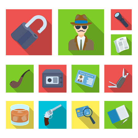 Detective and Attributes flat icons in set collection for design.Detective Agency vector symbol stock web illustration.