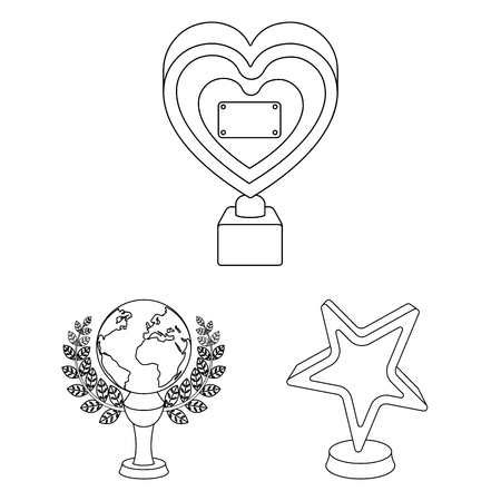 Film awards and prizes outline icons in set collection for design. The World Film Academy vector symbol stock web illustration. Stock Illustratie