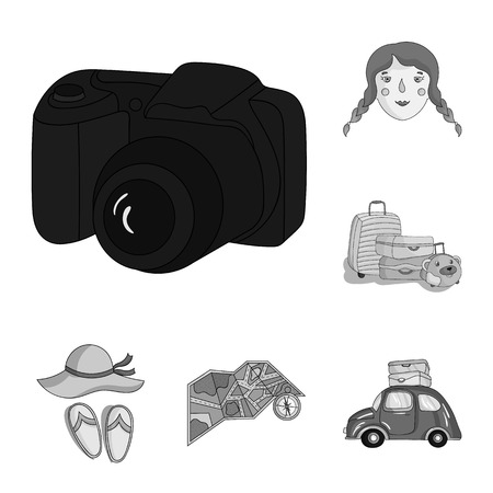 Family holiday monochrome icons in set collection for design. Recreation and equipment. vector symbol stock web illustration.