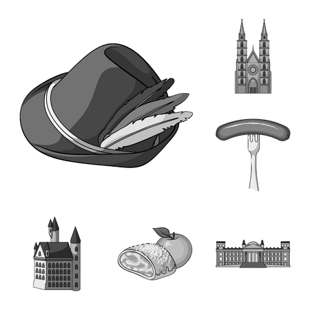 Country Germany monochrome icons in set collection for design. Germany and landmark vector symbol stock web illustration.