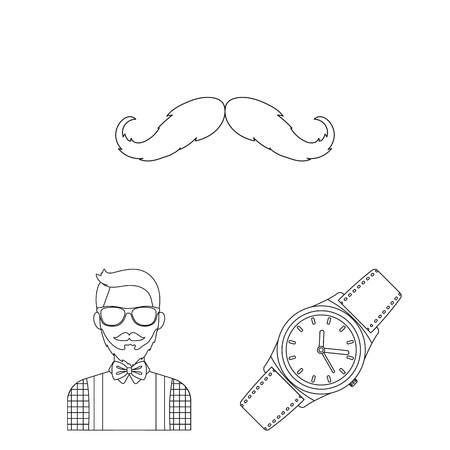 Style Hipster outline icons in set collection for design. Hipster Attributes and accessories vector symbol stock web illustration. Иллюстрация