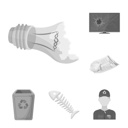 Icônes monochromes ordures et déchets dans la collection de jeu pour la conception. Nettoyage des ordures vecteur symbole stock illustration web.