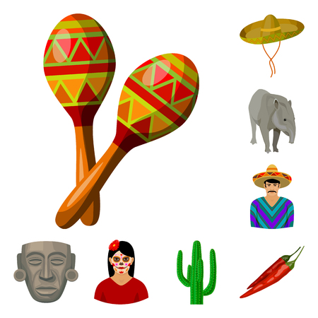 Country Mexico cartoon icons in set collection for design. Mexico and landmark vector symbol stock web illustration. Illustration