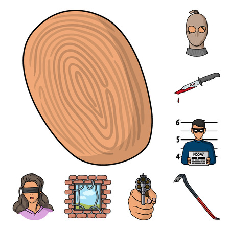 Crime and Punishment cartoon icons in set collection for design.Criminal vector symbol stock web illustration. Illustration