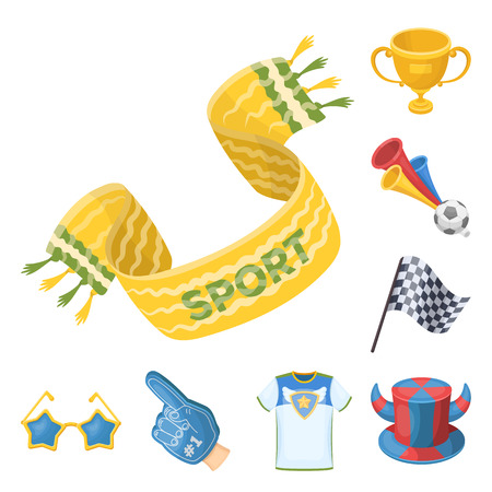 Fan and Attributes cartoon icons in set collection for design. Sports Fan vector symbol stock web illustration. Illustration