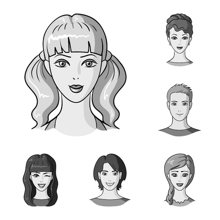 Avatar and face monochrome icons in set collection for design. A person appearance vector symbol stock web illustration. 일러스트