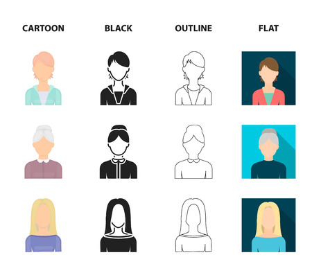 A man with a beard and mustache, a red-haired girl, an old woman, a blonde.Avatar set collection icons in cartoon,black,outline,flat style vector symbol stock illustration web.