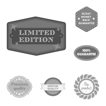 Different label monochrome icons in set collection for design. Index and brand vector symbol stock web illustration. Standard-Bild - 105694992