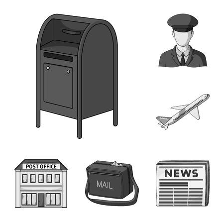 Mail e postino icone monocromatiche nella raccolta di set per il design. Posta e attrezzature simbolo d'archivio web illustrazione di vettore.