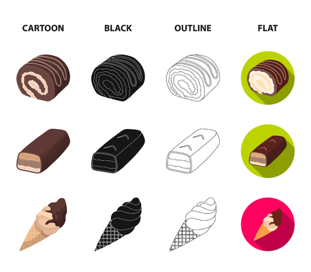 Dragee, roll, chocolate bar, ice cream. Chocolate desserts set collection icons in cartoon,black,outline,flat style vector symbol stock illustration web. Illustration