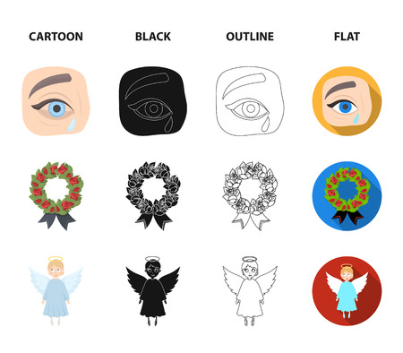 The urn with the ashes of the deceased, the tears of sorrow for the deceased at the funeral, the mourning wreath, the angel of death. Funeral ceremony set collection icons in cartoon,black,outline,flat style vector symbol stock illustration web.