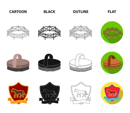 Aviary, whip, emblem, hippodrome .Hippodrome and horse set collection icons in cartoon,black,outline,flat style vector symbol stock illustration web. 向量圖像