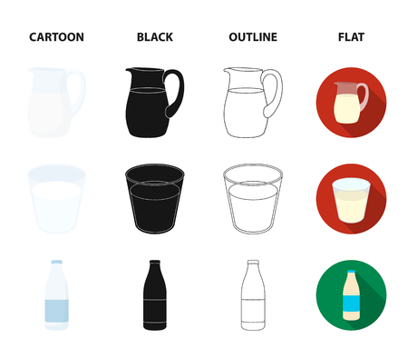 Bowl of cottage cheese, a glass, a bottle of kefir, a jug. Moloko set collection icons in cartoon,black,outline,flat style vector symbol stock illustration web. Illustration