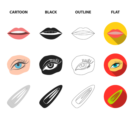 Nail polish, tinted eyelashes, lips with lipstick, hair clip.Makeup set collection icons in cartoon,black,outline,flat style vector symbol stock illustration web.