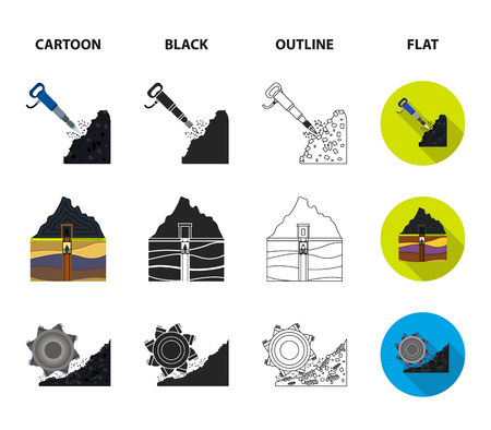 Excavator, tunnel, elevator, coal harvester and other equipment.Mine set collection icons in cartoon,black,outline,flat style vector symbol stock illustration web.