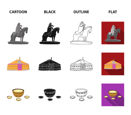 Military boots, a monument to the rider, a national tent, a milk drink. Mongolia set collection icons in cartoon,black,outline,flat style vector symbol stock illustration web.