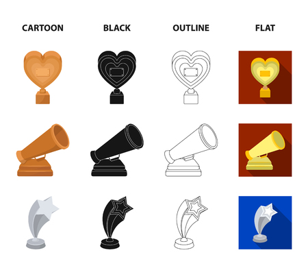 White Mask Mime for the best drama, a prize in the form of the heart and other prizes.Movie awards set collection icons in cartoon,black,outline,flat style vector symbol stock illustration web.