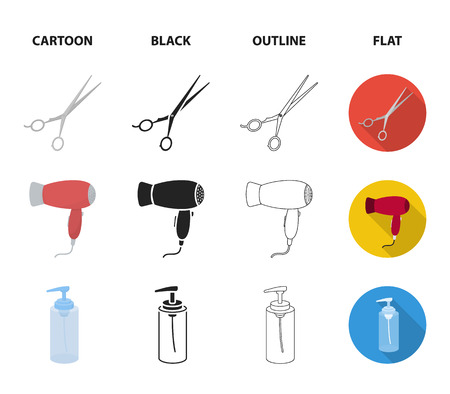 Hairdryer, hair dryer, lotion, scissors. Hairdresser set collection icons in cartoon,black,outline,flat style vector symbol stock illustration web.