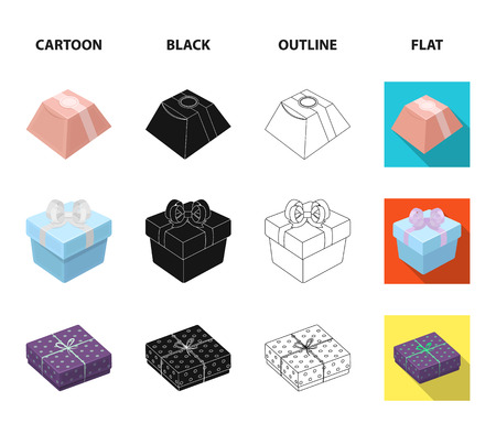 Gift box with bow, gift bag.Gifts and certificates set collection icons in cartoon,black,outline,flat style vector symbol stock illustration web.