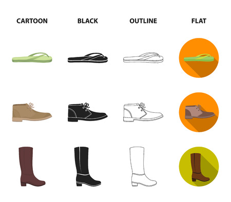 Autumn black shoes on a high platform, flip-flops green for relaxation, sandy men autumn shoes, high brown boots. Shoes set collection icons in cartoon,black,outline,flat style vector symbol stock illustration web.