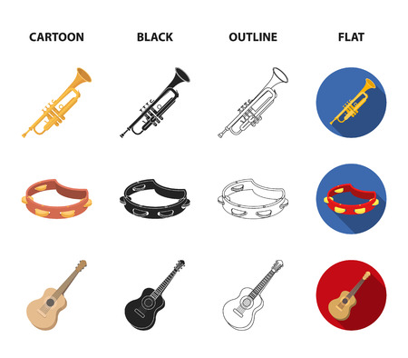 Electro organ, trumpet, tambourine, string guitar. Musical instruments set collection icons in cartoon,black,outline,flat style vector symbol stock illustration web. Illustration