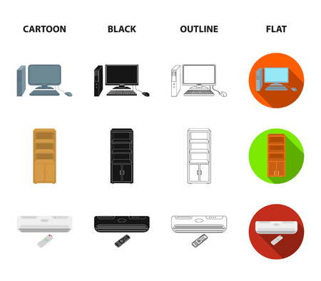 Clock with arrows, a computer with accessories for work in the office, a cabinet for storing business papers, air conditioning with remote control. Office Furniture set collection icons in cartoon,black,outline,flat style vector symbol stock illustration web.