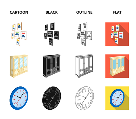 Cabinet, shelving with books and documents, frames on the wall, round clocks. Office interior set collection icons in cartoon,black,outline,flat style isometric vector symbol stock illustration web.