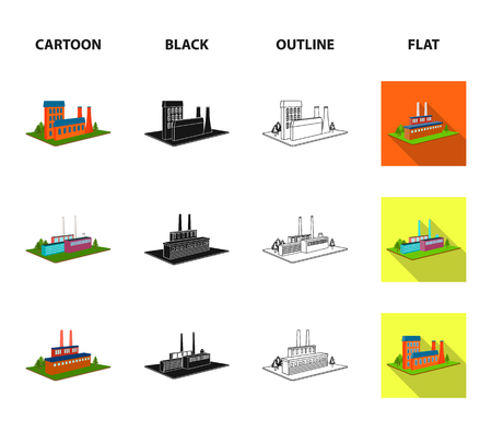 Processing factory,metallurgical plant. Factory and industry set collection icons in cartoon,black,outline,flat style isometric vector symbol stock illustration web. Фото со стока - 105695375