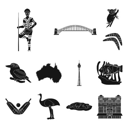 Country Australia black icons in set collection for design.Travel and attractions vector symbol stock web illustration.