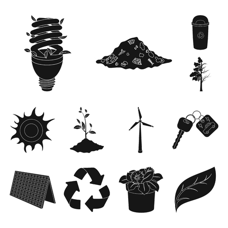 Bio and ecology black icons in set collection for design. An ecologically pure product vector symbol stock web illustration. Иллюстрация