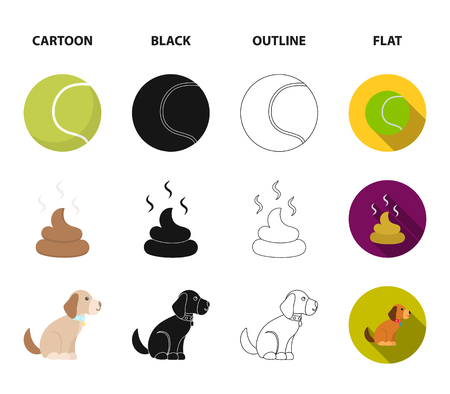 Dog sitting, dog standing, tennis ball, feces. Dog set collection icons in cartoon,black,outline,flat style vector symbol stock illustration web. Çizim