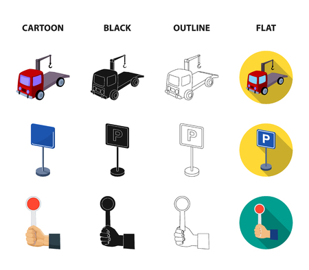 Transmission handle, tow truck, parking sign, stop signal. Parking zone set collection icons in cartoon,black,outline,flat style vector symbol stock illustration web. Illustration
