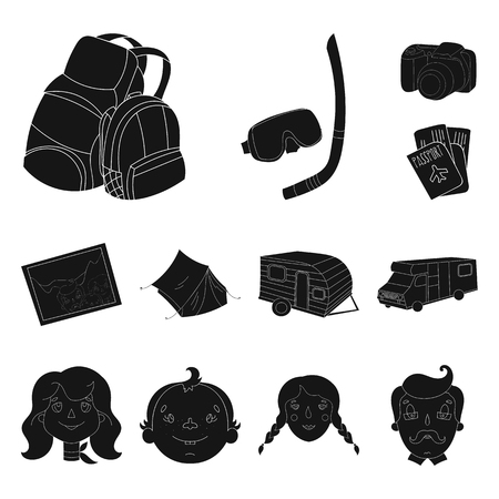Family holiday black icons in set collection for design. Recreation and equipment. vector symbol stock web illustration.