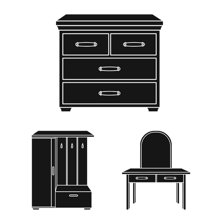 Furniture and interior black icons in set collection for design.Home furniture vector symbol stock  illustration. Stock Illustratie