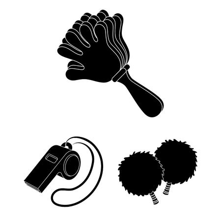 Ventilador y atributos iconos negros de colección set de diseño. Ilustración de stock de símbolo de vector de aficionado a los deportes.