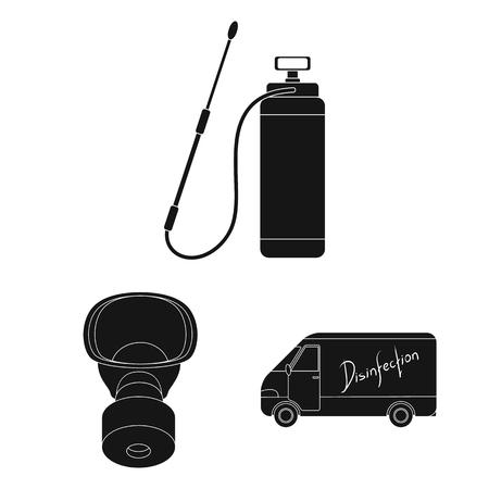 Plagas, veneno, personal y equipo iconos negros de colección set de diseño. Ilustración de stock de símbolo de vector de servicio de control de plagas.