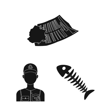 Garbage and waste black icons in set collection for design. Cleaning garbage vector symbol stock web illustration. 스톡 콘텐츠 - 105779651
