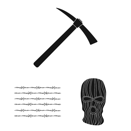 Prison and the criminalblack icons in set collection for design.Prison and Attributes vector symbol stock web illustration.