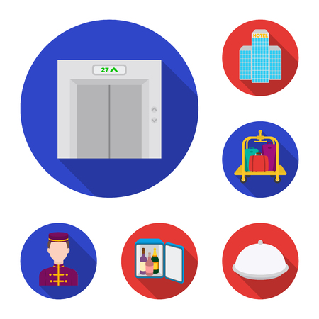 Hotel and equipment flat icons in set collection for design. Hotel and comfort vector symbol stock web illustration. Illustration