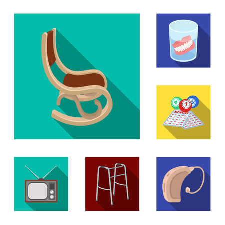 Human old age flat icons in set collection for design. Pensioner, period of life vector symbol stock web illustration. Ilustracja