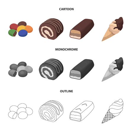 Dragee, roll, chocolate bar, ice cream. Chocolate desserts set collection icons in cartoon,outline,monochrome style vector symbol stock illustration web. Illustration