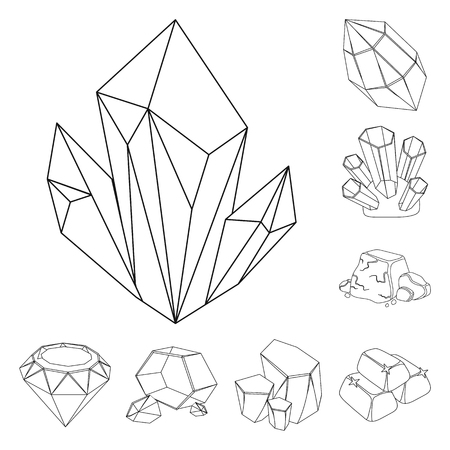 Precious Minerals outline icons in set collection for design. Jeweler and Equipment vector symbol stock web illustration.
